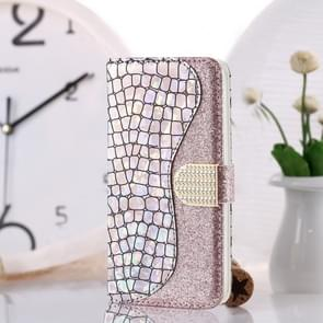 Laser Glitter Powder Matching Crocodile Texture Horizontal Flip Leather Case for Galaxy M10  with Card Slots & Holder (Silver)