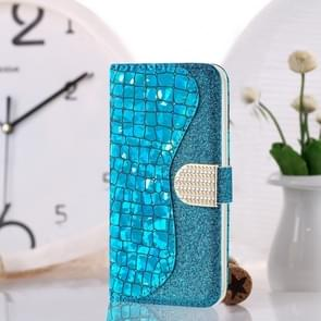 Laser Glitter Powder Matching Crocodile Texture Horizontal Flip Leather Case for Galaxy S10e, with Card Slots & Holder (Blue)