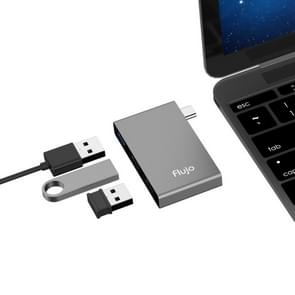 Flujo H55 Aluminum USB-C / Type-C & Micro USB to USB 3.0 & USB 2.0 HUB Adapter (Grey)