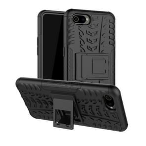Tire Texture TPU+PC Shockproof Case for OPPO Realme C2 /A1k, with Holder (Black)