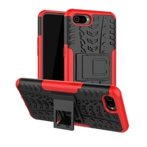 Tire Texture TPU+PC Shockproof Case for OPPO Realme C2 /A1k, with Holder (Red)