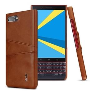 IMAK Ruiyi Series Concise Slim PU + PC Protective Case for BlackBerry KEY 2 LE, with Card Slot (Brown)