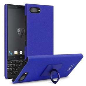 IMAK Matte Touch Cowboy PC Case for BlackBerry KEY 2, with Holder & Screen Sticker (Blue)