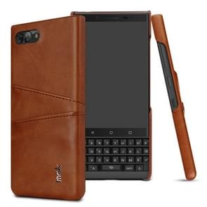 IMAK Ruiyi Series Concise Slim PU + PC Protective Case for BlackBerry KEY 2,with Card Slot (Brown)