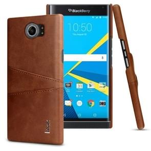 IMAK Ruiyi Series Concise Slim PU + PC Protective Case for BlackBerry Priv / Venice, with Card Slot (Brown)