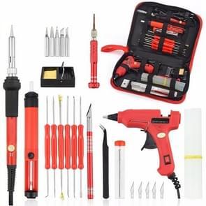 DIY Adjustable Temperature Electric Soldering Iron Welding Screwdriver Glue Repair Carving Knife Repair Tool Kit(Color:Red Size:EU Plug)