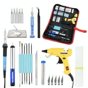 DIY Adjustable Temperature Electric Soldering Iron Welding Screwdriver Glue Repair Carving Knife Repair Tool Kit(Color:Yellow Size:EU Plug)