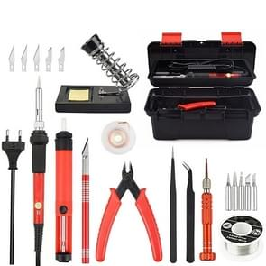Adjustable Temperature Electrical Soldering Iron Kit Welding Repair Tool Set Tool Box(Color:Red Size:EU Plug)