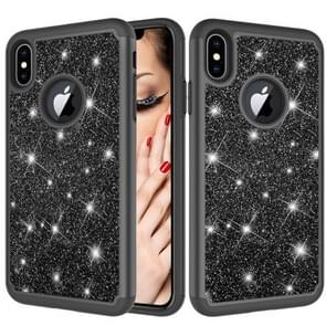 Glitter Powder Contrast Skin Shockproof Silicone + PC Protective Case for iPhone XS Max (Black)