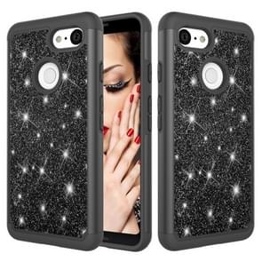 Glitter Powder Contrast Skin Shockproof Silicone + PC Protective Case for Google Pixel 3 (Black)