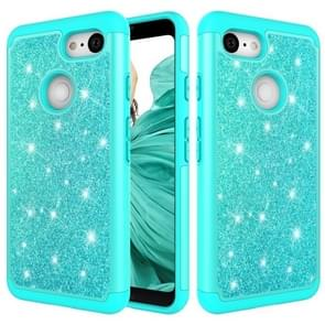 Glitter Powder Contrast Skin Shockproof Silicone + PC Protective Case for Google Pixel 3 (Green)