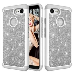 Glitter Powder Contrast Skin Shockproof Silicone + PC Protective Case for Google Pixel 3 (Grey)