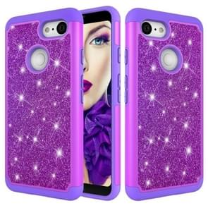 Glitter Powder Contrast Skin Shockproof Silicone + PC Protective Case for Google Pixel 3 (Purple)