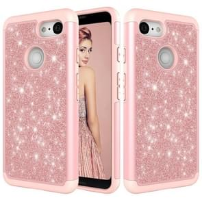 Glitter Powder Contrast Skin Shockproof Silicone + PC Protective Case for Google Pixel 3 (Rose Gold)