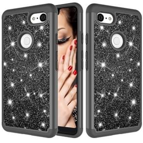 Glitter Powder Contrast Skin Shockproof Silicone + PC Protective Case for Google Pixel 3 XL (Black)