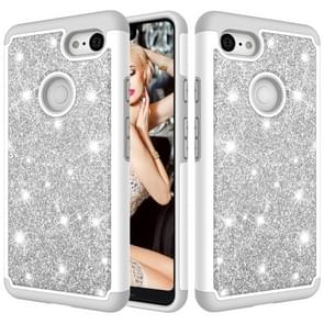 Glitter Powder Contrast Skin Shockproof Silicone + PC Protective Case for Google Pixel 3 XL (Grey)