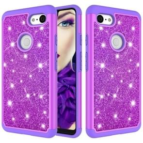 Glitter Powder Contrast Skin Shockproof Silicone + PC Protective Case for Google Pixel 3 XL (Purple)