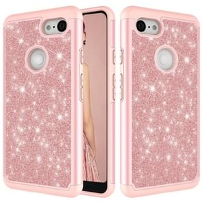 Glitter Powder Contrast Skin Shockproof Silicone + PC Protective Case for Google Pixel 3 XL (Rose Gold)