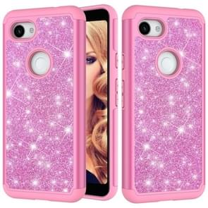 Glitter Powder Contrast Skin Shockproof Silicone + PC Protective Case for Google Pixel 3A (Pink)