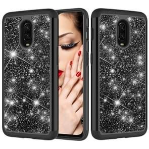 Glitter Powder Contrast Skin Shockproof Silicone + PC Protective Case for OnePlus 6T (Black)