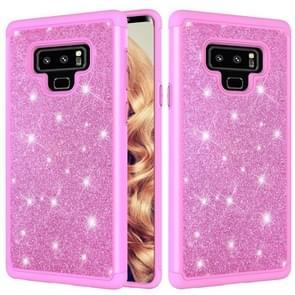 Glitter poeder contrast huid schokbestendig silicone + PC beschermende case voor Galaxy Note9 (roze)