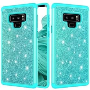 Glitter poeder contrast huid schokbestendig silicone + PC beschermende case voor Galaxy Note9 (groen)