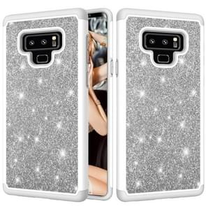 Glitter poeder contrast huid schokbestendig silicone + PC beschermende case voor Galaxy Note9 (grijs)