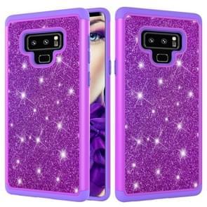 Glitter poeder contrast huid schokbestendig silicone + PC beschermende case voor Galaxy Note9 (paars)