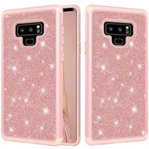 Glitter Powder Contrast Skin Shockproof Silicone + PC Protective Case for Galaxy Note9 (Rose Gold)