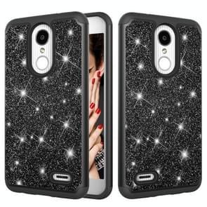 Glitter poeder contrast huid schokbestendig silicone + PC beschermende case voor LG Aristo 2/K8 2018 US versie/Aristo 2 plus/LG LV3 2018 (zwart)