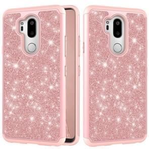 Glitter poeder contrast huid schokbestendig silicone + PC beschermende case voor LG G7 ThinQ/G7 (Rose Gold)
