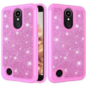 Glitter poeder contrast huid schokbestendig silicone + PC beschermende case voor LG K10 (2017)/K20 plus (roze)