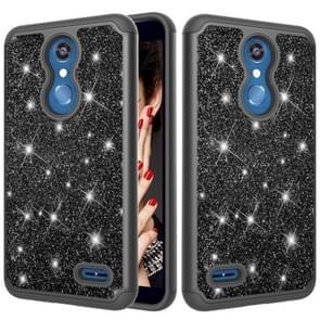 Glitter poeder contrast huid schokbestendig silicone + PC beschermende case voor LG K10 2018/K30 (zwart)