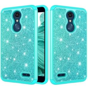 Glitter poeder contrast huid schokbestendig silicone + PC beschermende case voor LG K10 2018/K30 (groen)