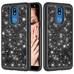 Glitter poeder contrast huid schokbestendig silicone + PC beschermende case voor LG K40/K12 plus (zwart)