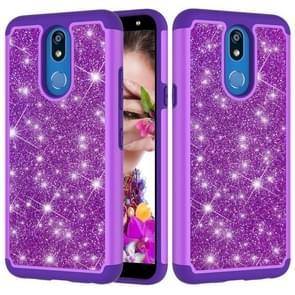 Glitter poeder contrast huid schokbestendig silicone + PC beschermende case voor LG K40/K12 plus (paars)
