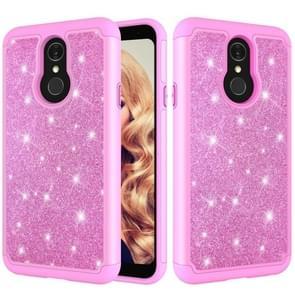 Glitter poeder contrast huid schokbestendig silicone + PC beschermende case voor LG Q7/Q7 plus (roze)