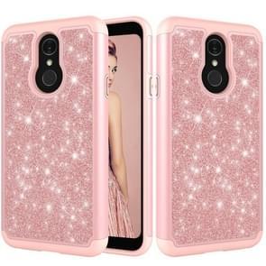 Glitter poeder contrast huid schokbestendig silicone + PC beschermende case voor LG Q7/Q7 plus (Rose goud)