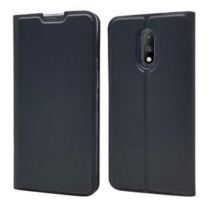 Elektrische geperst Plain textuur ultradunne magnetische zuig-TPU + PU lederen draagtas voor OnePlus 7, met houder & kaartsleuf (zwart grijs)