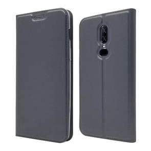 Electric Pressed Plain Texture Ultra-thin Magnetic Suction TPU + PU Leather Case for OnePlus 6, with Holder & Card Slot (Black Grey)