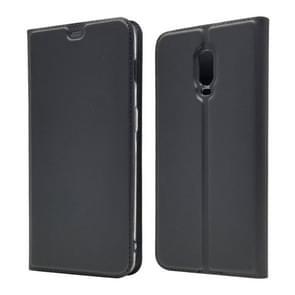 Elektrische geperst Plain textuur ultradunne magnetische zuig-TPU + PU lederen case voor OnePlus 6T, met houder & kaartsleuf (zwart grijs)