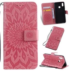 Pressed Printing Sunflower Pattern Horizontal Flip PU Leather Case for Vivo Y93 / Y91 / Y95, with Holder & Card Slots & Wallet & Lanyard (Pink)