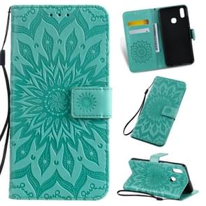 Pressed Printing Sunflower Pattern Horizontal Flip PU Leather Case for Vivo Y93 / Y91 / Y95, with Holder & Card Slots & Wallet & Lanyard (Green)