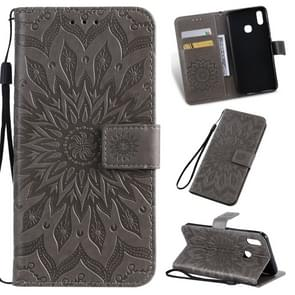 Pressed Printing Sunflower Pattern Horizontal Flip PU Leather Case for Vivo Y93 / Y91 / Y95, with Holder & Card Slots & Wallet & Lanyard (Grey)