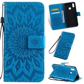 Pressed Printing Sunflower Pattern Horizontal Flip PU Leather Case for Vivo Y93 / Y91 / Y95, with Holder & Card Slots & Wallet & Lanyard (Blue)