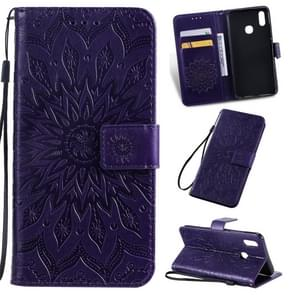 Pressed Printing Sunflower Pattern Horizontal Flip PU Leather Case for Vivo Y93 / Y91 / Y95, with Holder & Card Slots & Wallet & Lanyard (Purple)