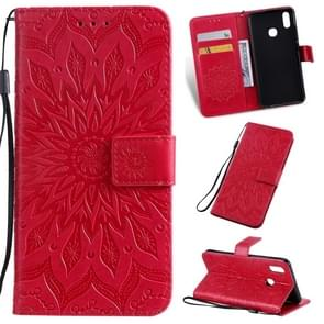 Pressed Printing Sunflower Pattern Horizontal Flip PU Leather Case for Vivo Y93 / Y91 / Y95, with Holder & Card Slots & Wallet & Lanyard (Red)