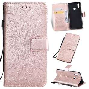 Pressed Printing Sunflower Pattern Horizontal Flip PU Leather Case for Vivo Y93 / Y91 / Y95, with Holder & Card Slots & Wallet & Lanyard (Rose Gold)