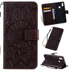 Pressed Printing Sunflower Pattern Horizontal Flip PU Leather Case for Vivo Y93 / Y91 / Y95, with Holder & Card Slots & Wallet & Lanyard (Brown)
