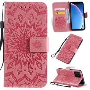 Pressed Printing Sunflower Pattern Horizontal Flip PU Leather Case for iPhone 11 Pro, with Holder & Card Slots & Wallet & Lanyard